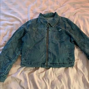 Jean Jacket with Patterned sleeve